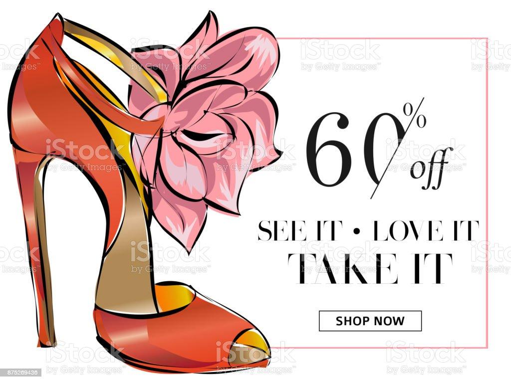 7340e642618a0 Bandeira de venda em sapatos da moda, compras on-line modelo de site de