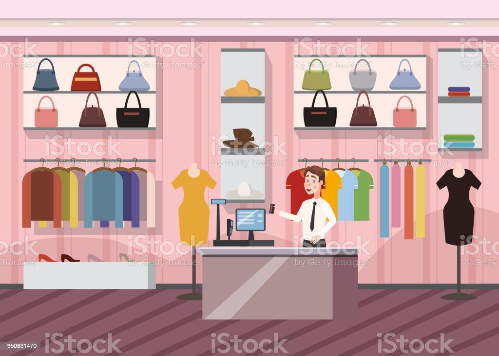 0ffef0fac9cb Desenho animado Super mercado feminino roupas centro comercial Interior  Banner com cópia espaço de loja de
