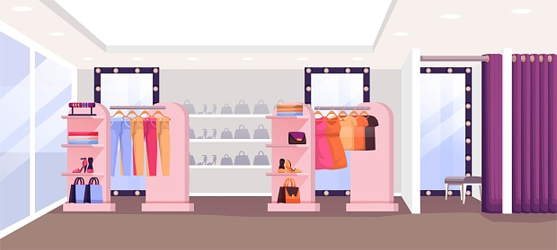 Fashion shop with clothes interior design background. Fitting room, apparel on hangers on display, shoes and bags on shelves. Modern boutique panorama vector illustration