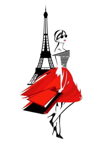 ilustrações, clipart, desenhos animados e ícones de moda, compras em design vetorial de paris - moda parisiense