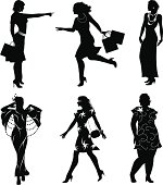 Vector silhouettes of women isolated on white background,editable eps with high resolution jpg image