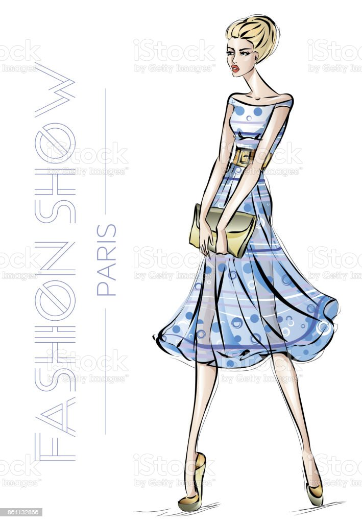 Fashion show in Paris advertising card with young beautiful sexy woman sketch style vector illustration royalty-free fashion show in paris advertising card with young beautiful sexy woman sketch style vector illustration stock vector art & more images of adult
