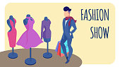 Fashion Show Invitation, Banner Flat Template. Male Shopper, Buyer Holding Shopping Bags Cartoon Character. Clothes Purchase Lettering. Dresses, Gowns on Mannequins. Present, Gift for Sweetheart