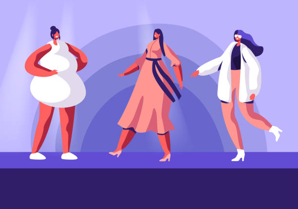 illustrazioni stock, clip art, cartoni animati e icone di tendenza di fashion show with top models on catwalk. female characters wearing trendy haute couture clothing demonstrating collection on runway. girls in trendy clothing event. cartoon flat vector illustration - alta moda italy