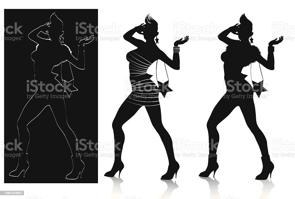 Fashion silhouette set (rock chic) royalty-free stock vector art