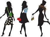 fasion silhouettes with textile designs and purses.