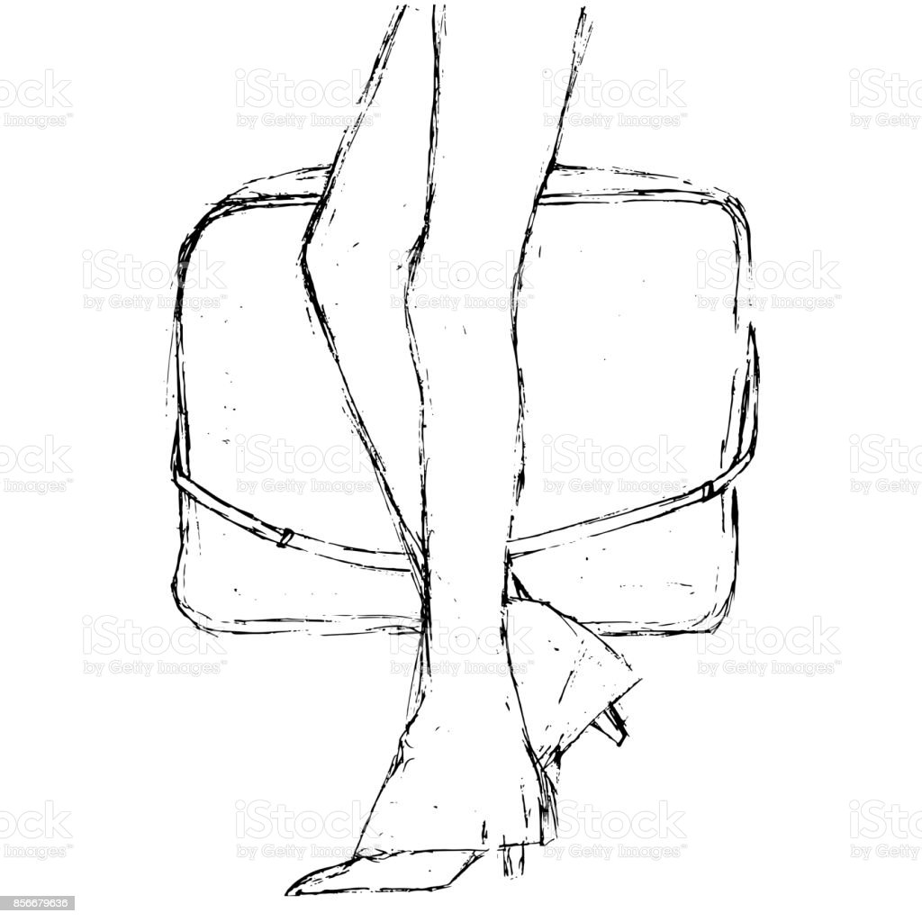 Fashion sketch. Artistic grunge hand drawn illustration. Walking woman carrying a bag. Close-up two legs in a leggings pants. vector art illustration