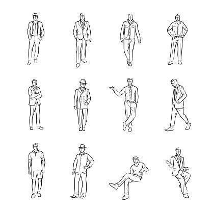 Gentleman, model, designer, costume designer, freehand, drawing, vector and illustration.