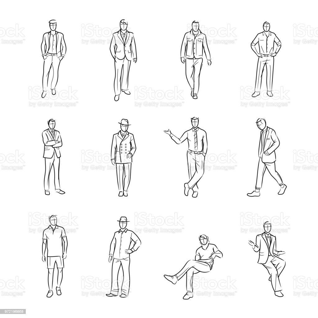 Projeto de desenho de moda M - ilustração de arte em vetor