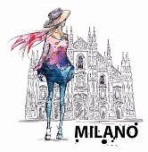 fashion sketch. Girl on a Milano Duomo  background. Vector illustration EPS 10