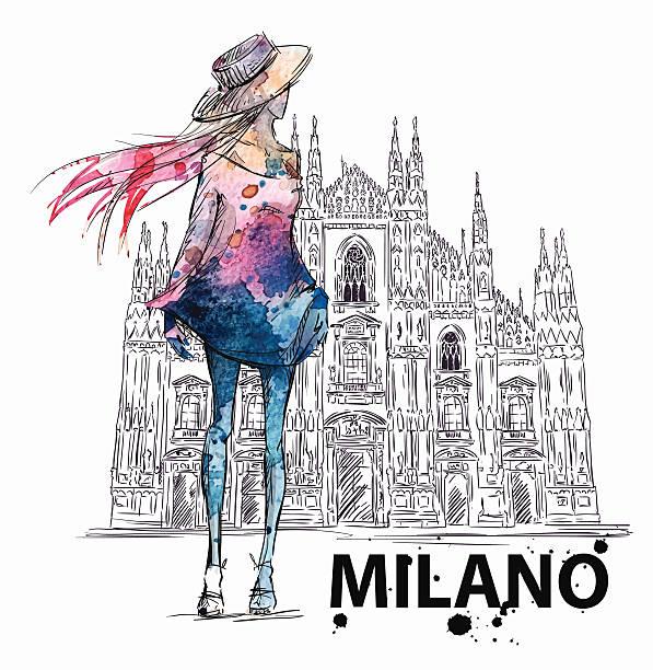 illustrazioni stock, clip art, cartoni animati e icone di tendenza di schizzo di moda. ragazza su uno sfondo del duomo di milano - milan