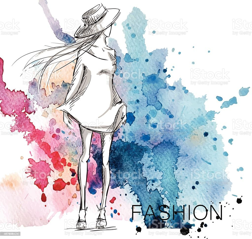 fashion sketch. Girl on a watercolor background. vector art illustration