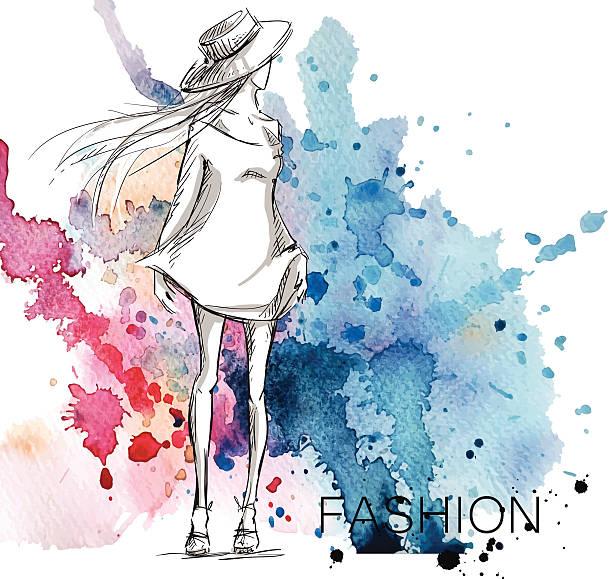 ilustraciones, imágenes clip art, dibujos animados e iconos de stock de moda bocetos. chica con un fondo de acuarela. - moda de mujer