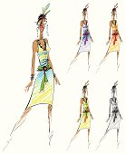A freehand fashion sketch of a woman wearing an edgy, sexy, form-fitting V-necked sleeveless, summer dress with a flirty tie belt accent on the hips. The dress is accessorized with a funky necklace, pair of earrings and hair decoration. The model is standing in a vogue style to show her haute couture dress. The illustration is in a sketch pen drawing style with different basic color combinations of green, blue, yellow and monochrome (black & white) which are also included in the vector artwork. All solid colors are used in this isolated illustration with no gradient and special effects.