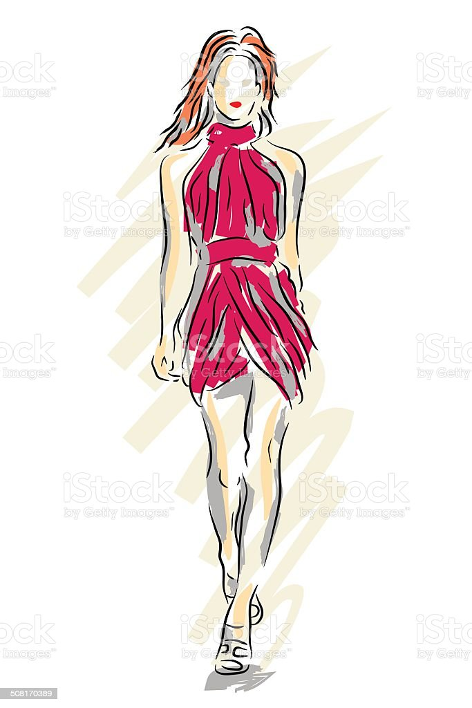 Fashion sketch vector art illustration