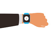 Fashion smart  watch with hand, flat vector