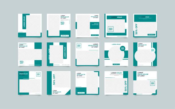 ilustrações, clipart, desenhos animados e ícones de moda social media post template bundle - templates