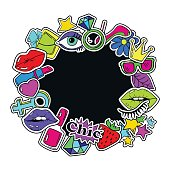 Colorful fun background of girl's fashion stickers, icons, emoji, pins or patches in cartoon 80s-90s comic style.