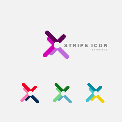 fashion stripe icon template collection for design