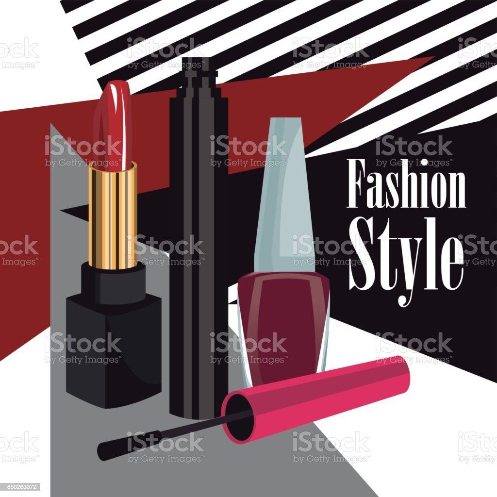 fashion style cosmetics mascara lipstick and nail polish wo poster vector art illustration