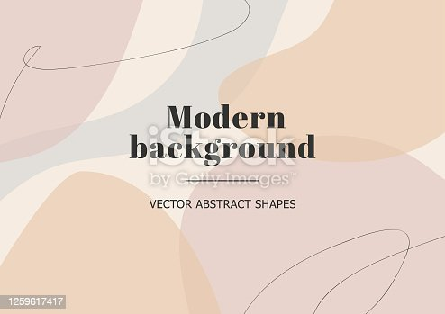 istock Fashion stylish templates with organic abstract shapes and line in nude pastel colors. Neutral background in minimalist style. Contemporary vector Illustration 1259617417