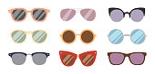 Fashion sunglasses design retro accessory sun optical goggles spectacles vintage plastic frame modern eyeglasses vector illustration. Elegance summer glasses classic reflection wear.