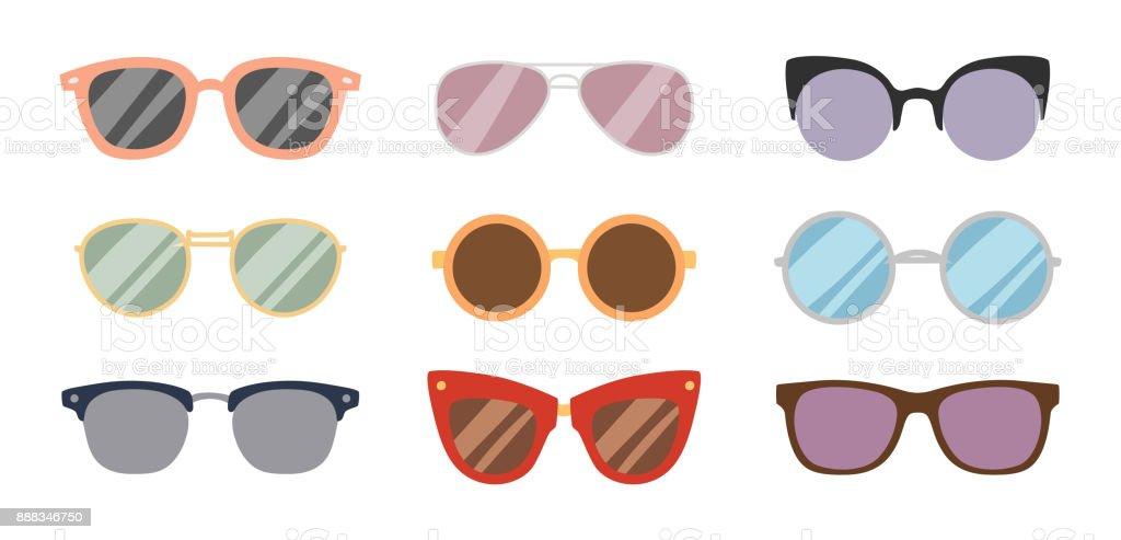 Fashion sunglasses accessory sun glasses spectacles plastic frame goggles modern eyeglasses vector illustration vector art illustration