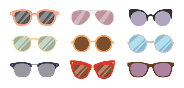 fashion sunglasses accessory sun glasses spectacles plastic frame goggles modern eyeglasses vector illustration - sunglasses stock illustrations, clip art, cartoons, & icons