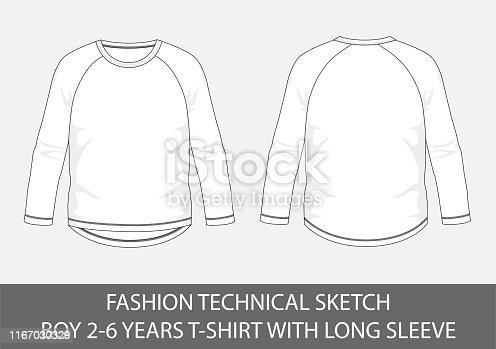 istock Fashion technical sketch boy 2-6 years t-shirt 1167030329