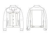 Fashion Technical sketch men denim jacket in vector