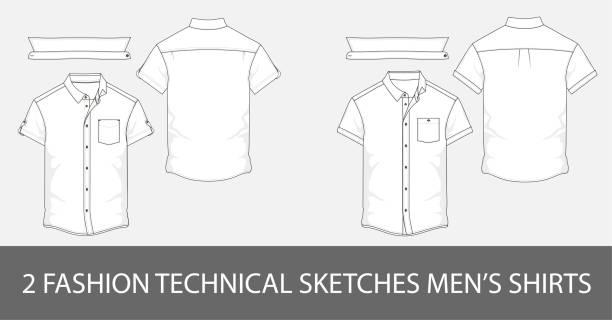stockillustraties, clipart, cartoons en iconen met 2 fashion technische schetst hemd voor mannen met korte mouwen en patch zakken - korte mouwen