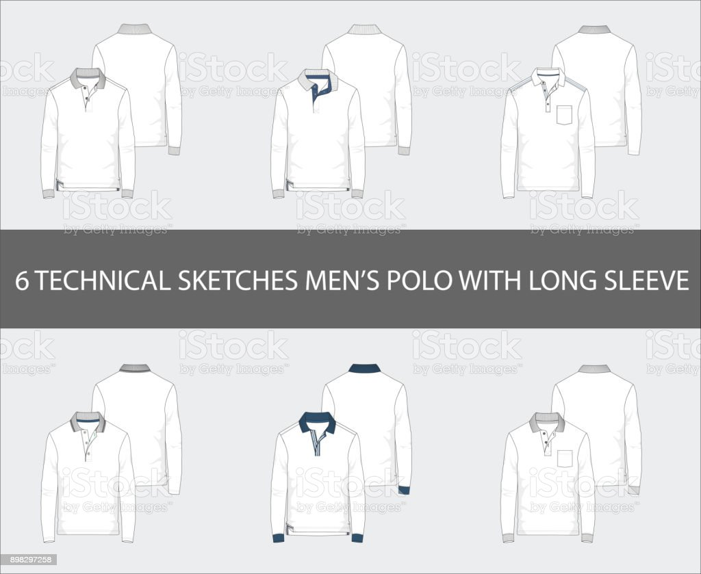 Fashion technical sketches set of men's Short Long Polo Shirts