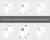 Fashion technical sketches set of men's Short Long Polo Shirts
