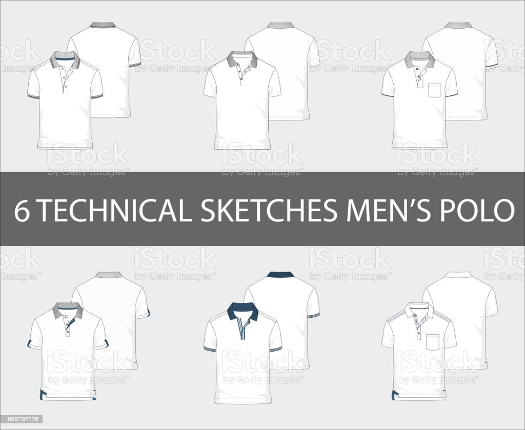 Fashion technical sketches set of men's Short Sleeve Polo Shirts