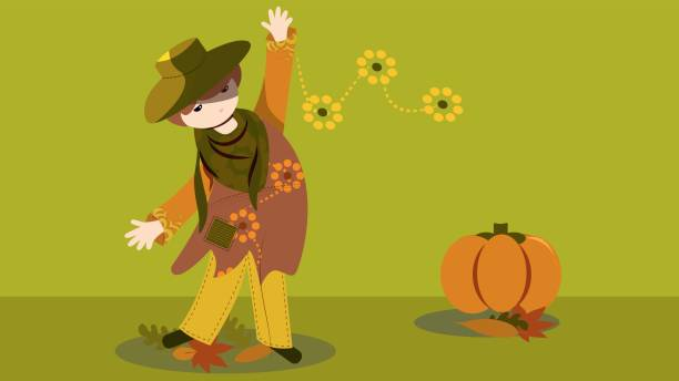 fashion theme fall with pumpkin vector art illustration
