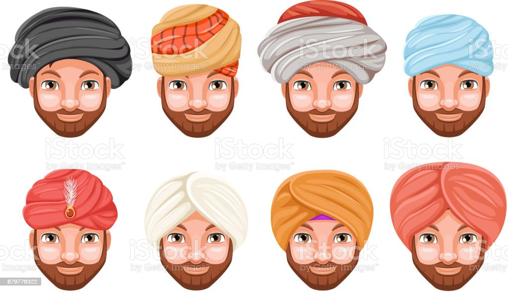 c212ca98a91 Fashion turban headdress arab indian culture sikh sultan bedouin cute  beautiful man head hat isolated icons set cartoon design video chat effects  photo ...