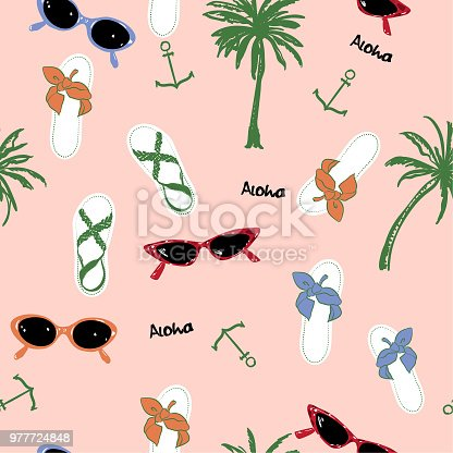 Fashion vector  beach summer element and accessories ,Palm tree, anchor,aloha, sandals, sunglasses,Seamless pattern.
