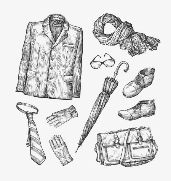 stockillustraties, clipart, cartoons en iconen met fashion. vector collection of men clothing. hand-drawn sketch umbrella - men blazer