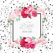 Fashion vector design square card with black confetti background