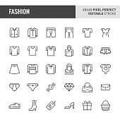 30 thin line icons associated with fashion with symbols such as clothes and other wearable accessories are included in this set. 48x48 pixel perfect vector icon with editable stroke.