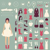 fashion vector icons, collection of woman accessories, clothes jewelry and cosmetics
