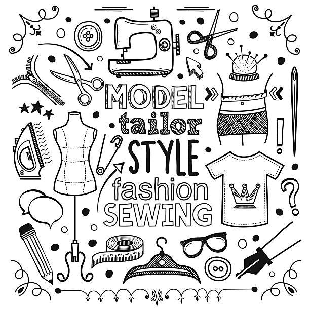Fashion Fashion themed (doodle) hand-drawn illustration. fashion design sketches stock illustrations