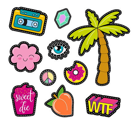 Fashion vector pop art patches, pins, badges and stickers