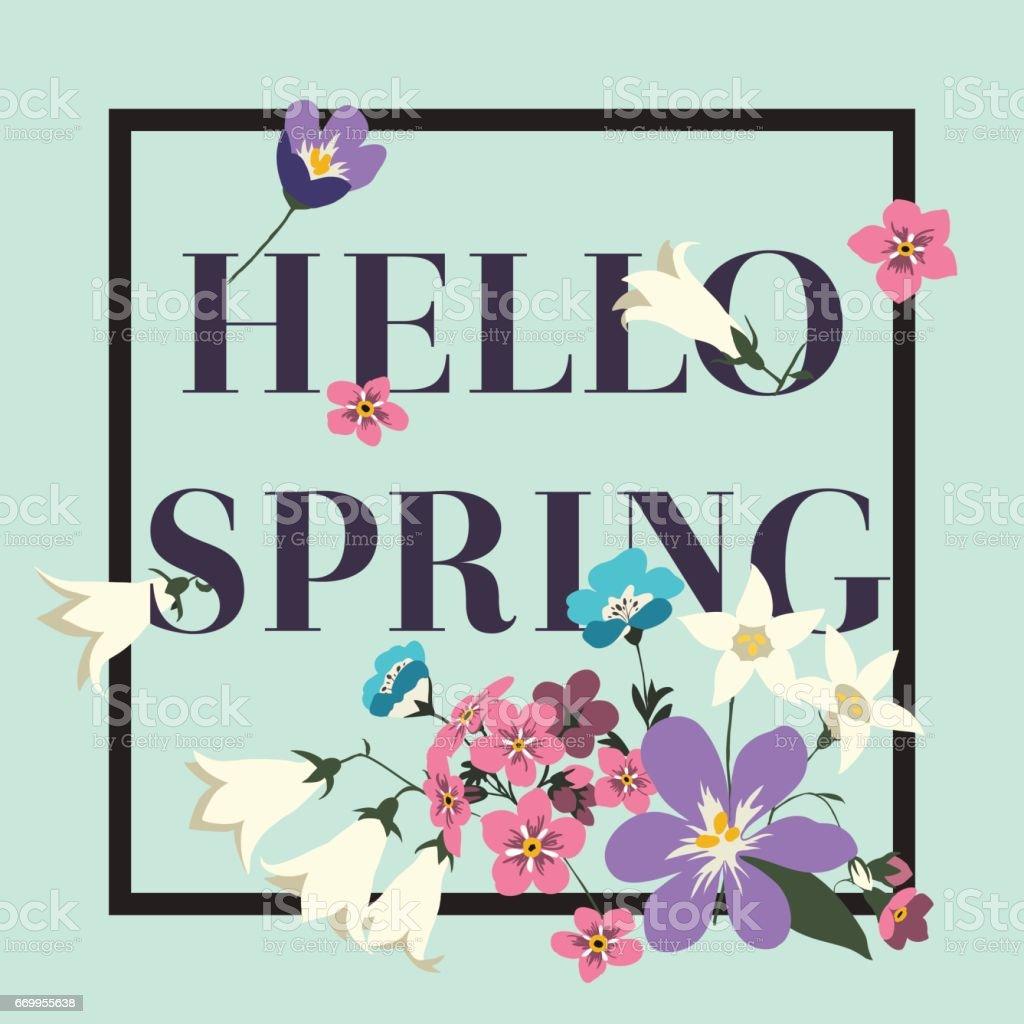 Moda vector poster Hola primavera - ilustración de arte vectorial
