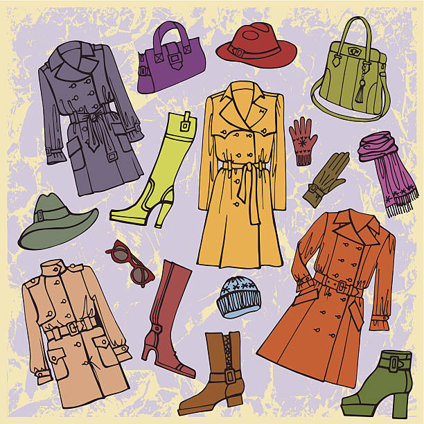 fashion wear. autumn ,winter,spring woman clothes set - spring fashion stock illustrations, clip art, cartoons, & icons