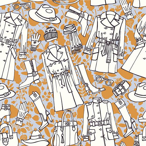 fashion wear seamless pattern. autumn ,winter,spring woman cloth - spring fashion stock illustrations, clip art, cartoons, & icons
