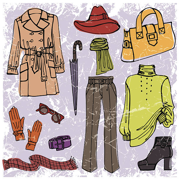 fashion wear set.autumn ,winter,spring woman clothes - spring fashion stock illustrations, clip art, cartoons, & icons