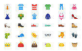 Fashion, Wears Icons Set. Menswear, Womenswear, Accessories, Ring, Hat, Shirts, Wears, Apparels, Dresses, Clothes Illustration Symbol, Shopping Emoticons, Emojis Collection