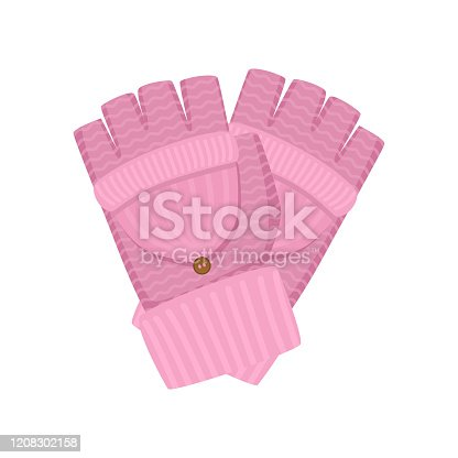 Fashion winter gloves, textile material and pink color, for kid lady. Flat style. Vector illustration on white background