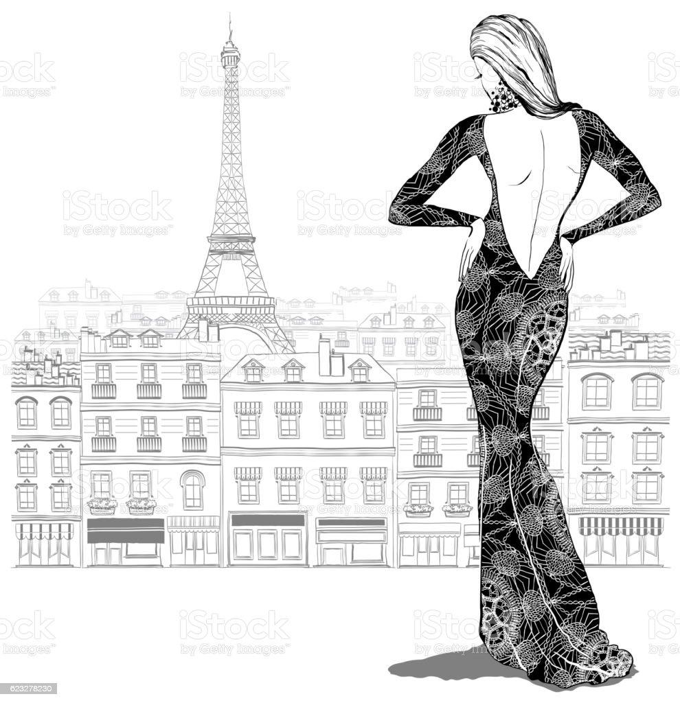 Fashion woman model in beautiful dress - ilustração de arte em vetor